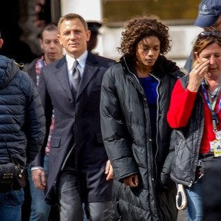 Daniel Craig, Naomie Harris in On Set of Spectre The Upcoming James Bond Film Currently Filming in Whitehall