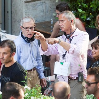 Woody Allen, Penelope Cruz in On The Set of New Film The Bop Decameron