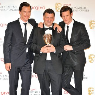 Benedict Cumberbatch, Steven Moffat, Matt Smith in The 2012 Arqiva British Academy Television Awards - Winners Board