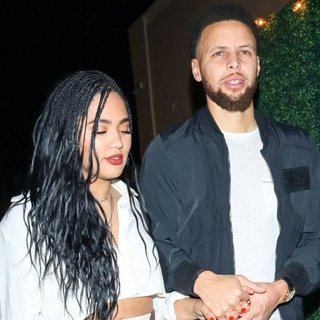 Ayesha Curry and Stephen Curry Outside Delilah Nightclub