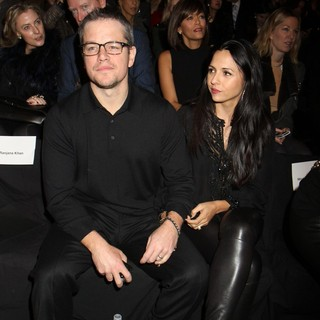 Matt Damon, Luciana Barroso in Mercedes-Benz New York Fashion Week Autumn-Winter 2013 - Naeem Kahn - Front Row