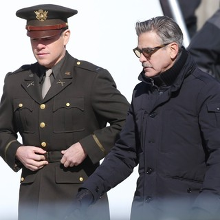 Matt Damon, George Clooney in On The Set of Movie The Monuments Men