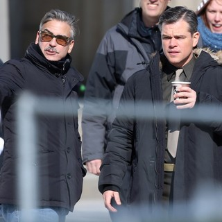 George Clooney, Matt Damon in On The Set of Movie The Monuments Men