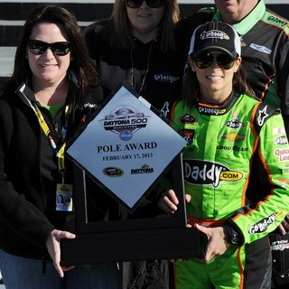 Danica Patrick in Danica Patrick Poses After Becoming The First Women in NASCAR History to Win The Pole Award