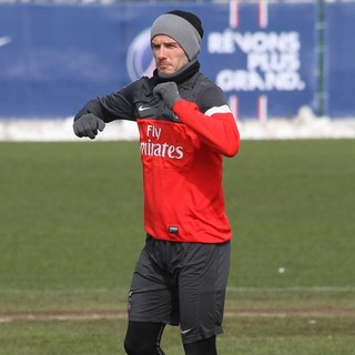 David Beckham in David Beckham Training with Paris Saint-Germain at The Camp des Loges Training Facility
