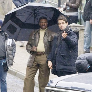 Keith David, Tom Tykwer in On The Film set of Cloud Atlas Shooting on Location in Glasgow