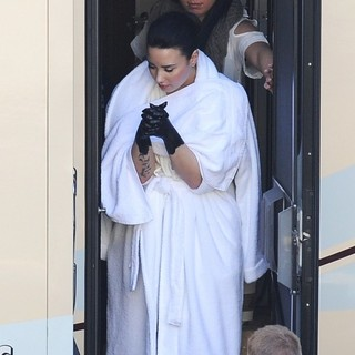 Demi Lovato Spotted on The Set of Her Music Video Heart Attack Sporting Black Painted Hands