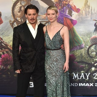 Johnny Depp, Mia Wasikowska in Alice Through the Looking Glass European Premiere - Arrivals