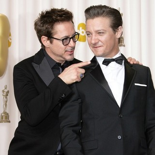Robert Downey Jr., Jeremy Renner in The 85th Annual Oscars - Press Room