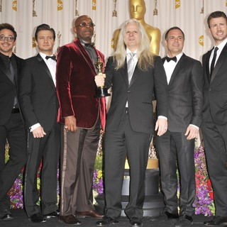 Robert Downey Jr., Jeremy Renner, Samuel L. Jackson, Claudio Miranda, Mark Ruffalo, Chris Evans in The 85th Annual Oscars - Press Room
