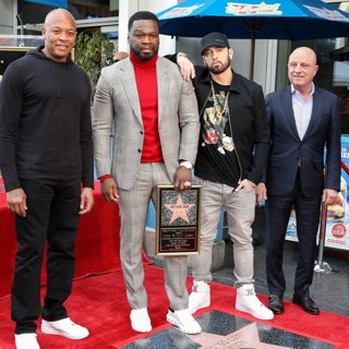 Dr. Dre, 50 Cent, Eminem, Chris Albrecht in 50 Cent Is Honored with A Star on The Hollywood Walk of Fame