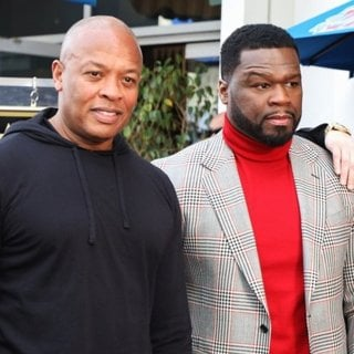Dr. Dre, 50 Cent, Eminem in 50 Cent Is Honored with A Star on The Hollywood Walk of Fame