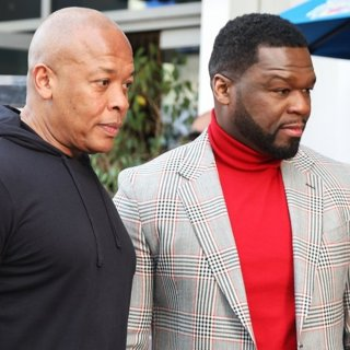 Dr. Dre, 50 Cent in 50 Cent Is Honored with A Star on The Hollywood Walk of Fame