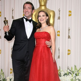 Jean Dujardin, Natalie Portman in 84th Annual Academy Awards - Press Room