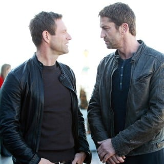 Aaron Eckhart, Gerard Butler in Russian Photocall for Olympus Has Fallen