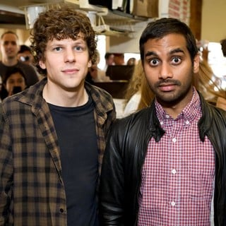Jesse Eisenberg, Aziz Ansari in Jesse Eisenberg and Aziz Ansari Serve Pizza to Promote 30 Minutes or Less