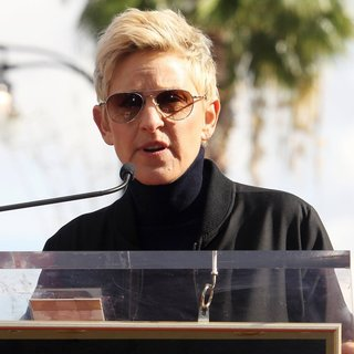 Ellen DeGeneres in Pharrell Williams Honored with A Star on The Hollywood Walk of Fame