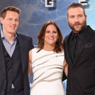 David Ellison, Dana Goldberg, Jai Courtney in Terminator Genisys Berlin Premiere