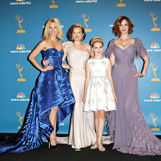 January Jones, Elisabeth Moss, Kiernan Shipka, Christina Hendricks in The 62nd Annual Primetime Emmy Awards - Press Room