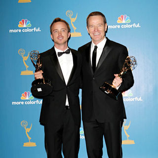 Aaron Paul, Bryan Cranston in The 62nd Annual Primetime Emmy Awards - Press Room