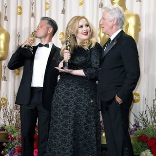 Paul Epworth, Adele, Richard Gere in The 85th Annual Oscars - Press Room