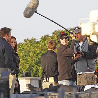 Chris Evans, Scarlett Johansson in Filming Scenes for Movie Captain America: The Winter Soldier