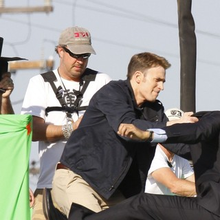 Scarlett Johansson, Chris Evans in Filming Scenes for Movie Captain America: The Winter Soldier