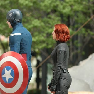 Chris Evans, Scarlett Johansson in On The Film Set of The Avengers