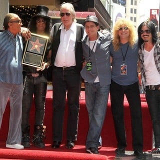 Robert Evans, Slash, Jim Ladd, Charlie Sheen, Steven Adler, Gilby Clarke in Slash Honored with A Star on The Hollywood Walk of Fame