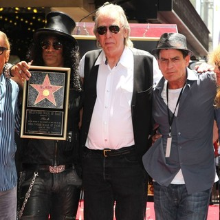 Robert Evans, Slash, Jim Ladd, Charlie Sheen, Steven Adler in Slash Honored with A Star on The Hollywood Walk of Fame