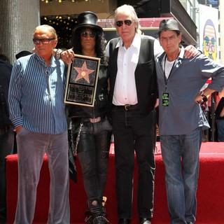 Robert Evans, Slash, Jim Ladd, Charlie Sheen in Slash Honored with A Star on The Hollywood Walk of Fame