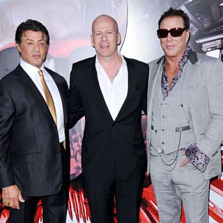 Sylvester Stallone, Bruce Willis, Mickey Rourke in Los Angeles Premiere of 'The Expendables'