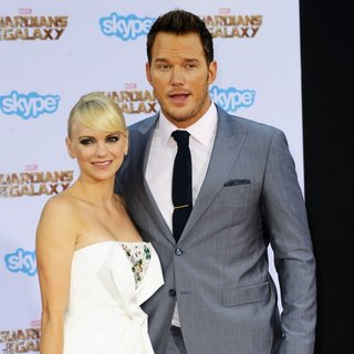 Anna Faris, Chris Pratt in Film Premiere of Guardians of the Galaxy