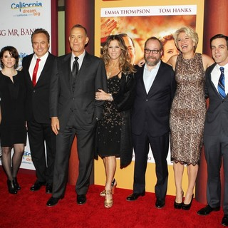 Colin Farrell, Annie Rose Buckley, Melanie Paxson, Bradley Whitford, Tom Hanks, Rita Wilson, Paul Giamatti, Emma Thompson, B.J. Novak, Jason Schwartzman in Saving Mr. Banks Los Angeles Premiere