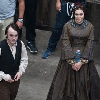 Tom Felton, Elizabeth Olsen in Actors on The Set of Therese Raquin Filming on Location
