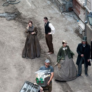 Elizabeth Olsen, Tom Felton in Actors on The Set of Therese Raquin Filming on Location