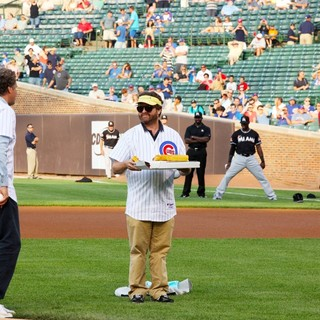 Will Ferrell, Zach Galifianakis in Zach Galifianakis and Will Ferrell Promote Movie The Campaign by Throwing Out A Dueling First Pitch