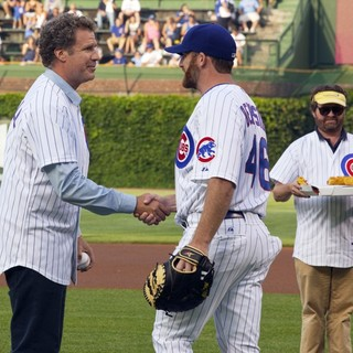 Will Ferrell, Ryan Dempster, Zach Galifianakis in Zach Galifianakis and Will Ferrell Promote Movie The Campaign by Throwing Out A Dueling First Pitch