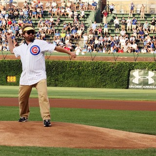 Zach Galifianakis, Will Ferrell in Zach Galifianakis and Will Ferrell Promote Movie The Campaign by Throwing Out A Dueling First Pitch