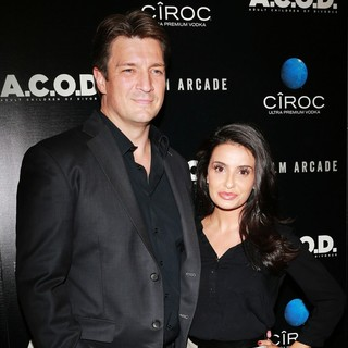 Nathan Fillion, Mikaela Hoover in A.C.O.D. Los Angeles Premiere