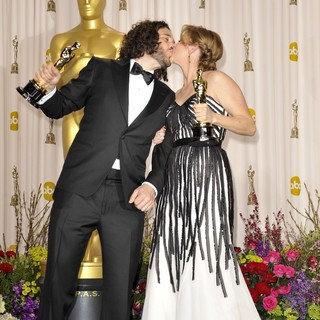 Sean Fine, Andrea Nix in The 85th Annual Oscars - Press Room