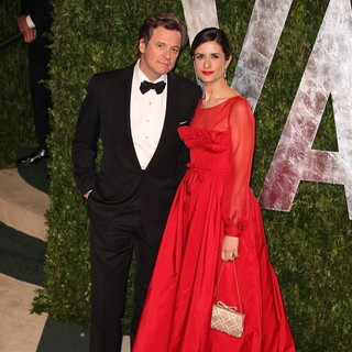 Colin Firth, Livia Giuggioli in 2012 Vanity Fair Oscar Party - Arrivals