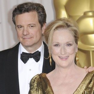 Colin Firth, Meryl Streep in 84th Annual Academy Awards - Press Room