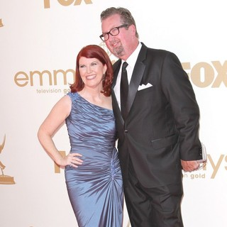 Kate Flannery, Chris Haston in The 63rd Primetime Emmy Awards - Arrivals