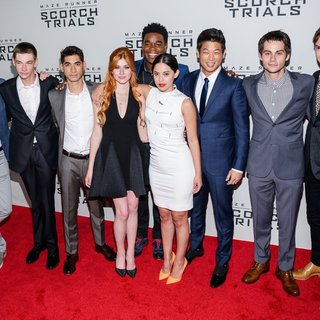 Wes Ball, Jacob Lofland, Alexander Flores, Katherine McNamara, Dexter Darden, Rosa Salazar, Ki Hong Lee, Dylan O'Brien, Thomas Sangster in Maze Runner: The Scorch Trials New York Premiere
