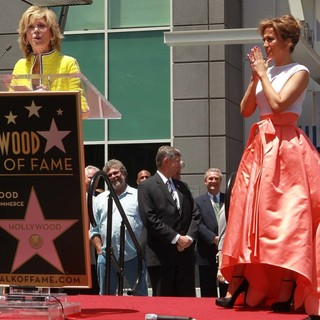 Jane Fonda, Jennifer Lopez in Jennifer Lopez Is Honoured with The 2,500th Star on The Hollywood Walk of Fame