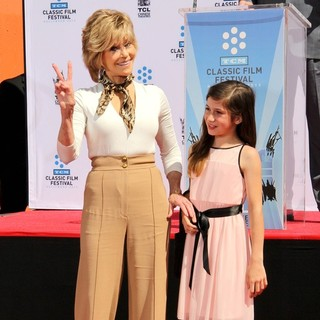 Jane Fonda, Viva Vadim in Handprint and Footprint Ceremony Honouring Actress Jane Fonda