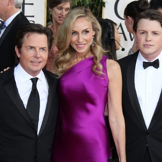 Michael J. Fox, Tracy Pollan, Sam Fox in 70th Annual Golden Globe Awards - Arrivals