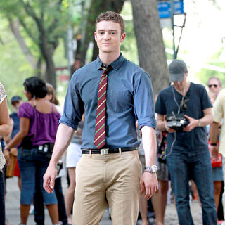 Justin Timberlake in Filming on The Set of New Film 'Friends with Benefits'