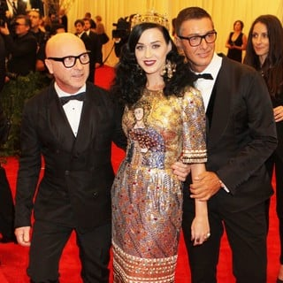Domenico Dolce, Katy Perry, Stefano Gabbana in PUNK: Chaos to Couture Costume Institute Gala